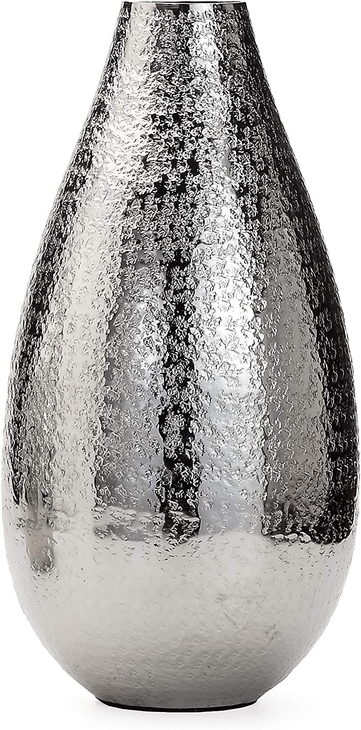 Torre & Tagus Talis Hammered Vase, Tall, Silver