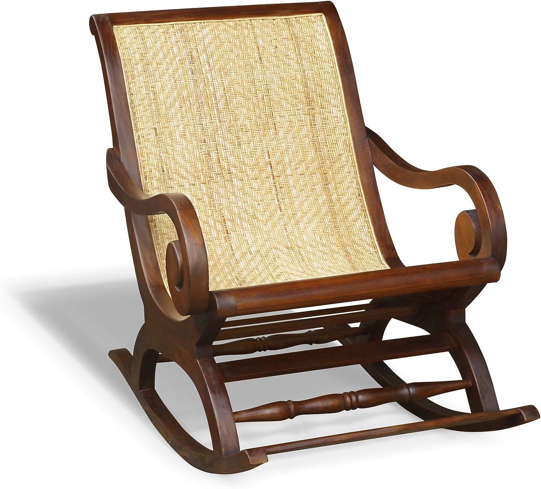 Capri madera de teca & de ratán colonial mecedora, balancín, jardín balancín silla – teca, calidad y valor: Amazon.es: Jardín