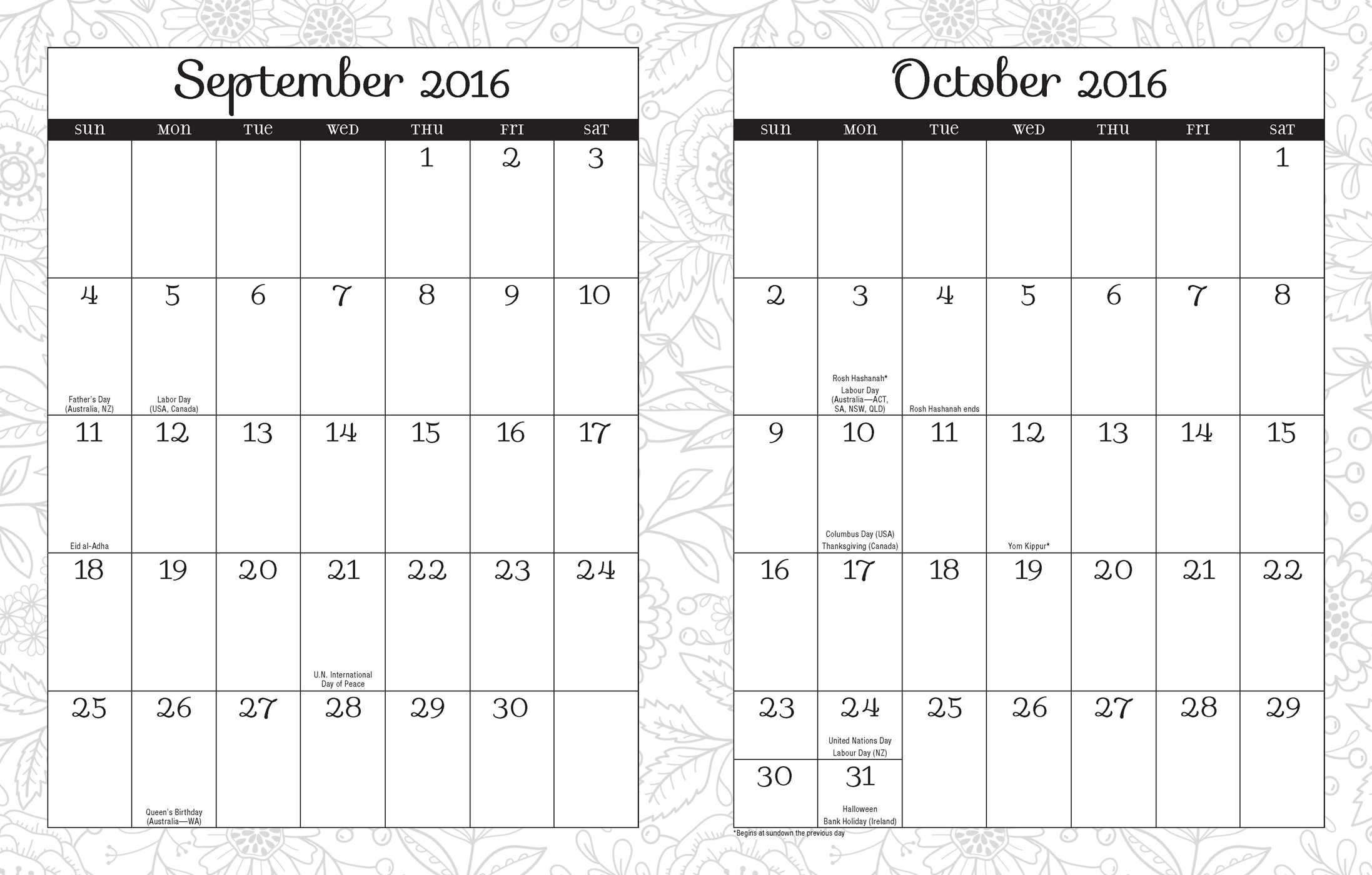 Posh Coloring 2015 2016 Large Monthly Weekly Planning
