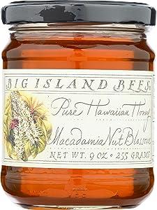 Unheated, Pure, Raw Macadamia Nut Blossom Hawaiian Honey, Single Floral Variety by Big Island Bees (9 oz Glass Jar)