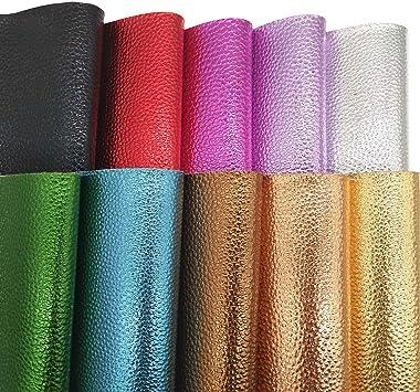 "ZAIONE 10 pcs 8"" x 12"" 20cm x 30cm Sheet Metallic Leather Lychee Pastel Faux for"