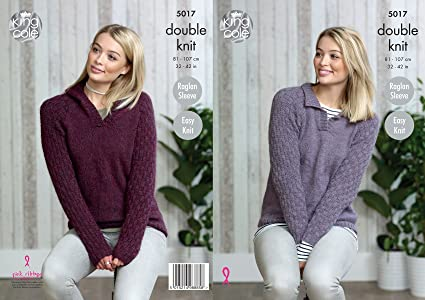 b28ba559f7cc7 Image Unavailable. Image not available for. Colour  King Cole Ladies Double Knitting  Pattern Easy Knit Raglan Sleeve Collared or Hooded Sweater (5017