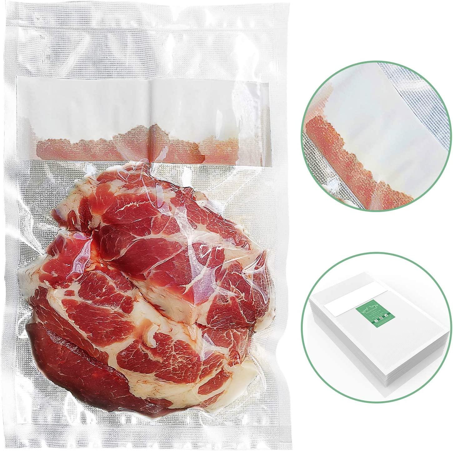 8×13 Inch Liquid Block Vacuum Sealer Bags,Withstand High Temperature UP 280°F,Freezable and Heatable with Absorbent Cotton Design,Design for Food with Water Meat Vacuum Storage(50Pcs)