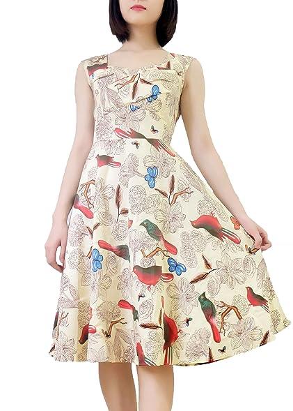 Wellwtis Womens 50s 60s Retro Formal Birds Garden Tea Dress At