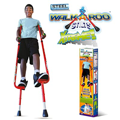 Geospace Original Walkaroo Xtreme Steel Balance Stilts with Height Adjustable Vert Lifters by Air Kicks (red): Sports & Outdoors