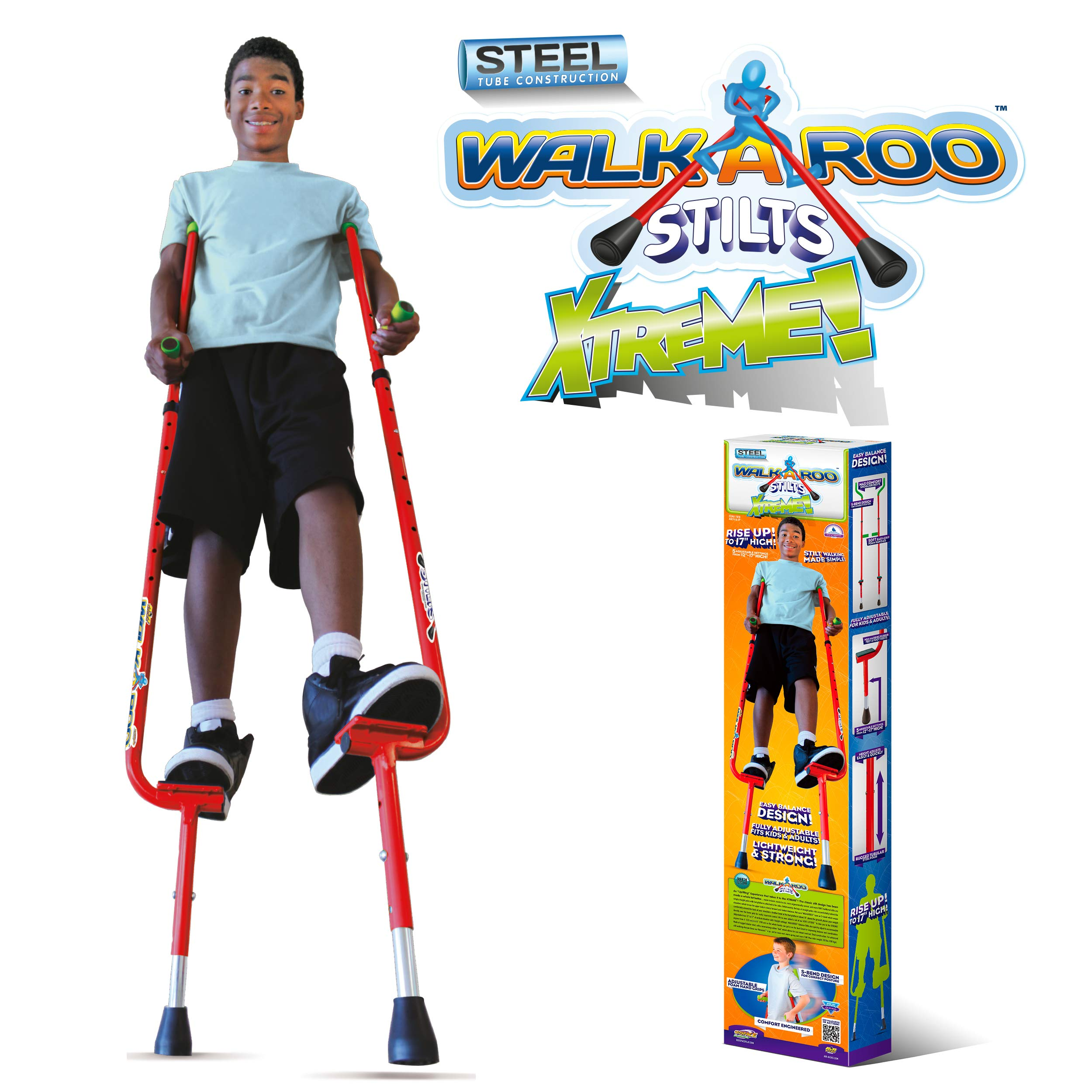 Geospace Original Walkaroo Xtreme Steel Balance Stilts with Height Adjustable Vert Lifters by Air Kicks (red) by Geospace