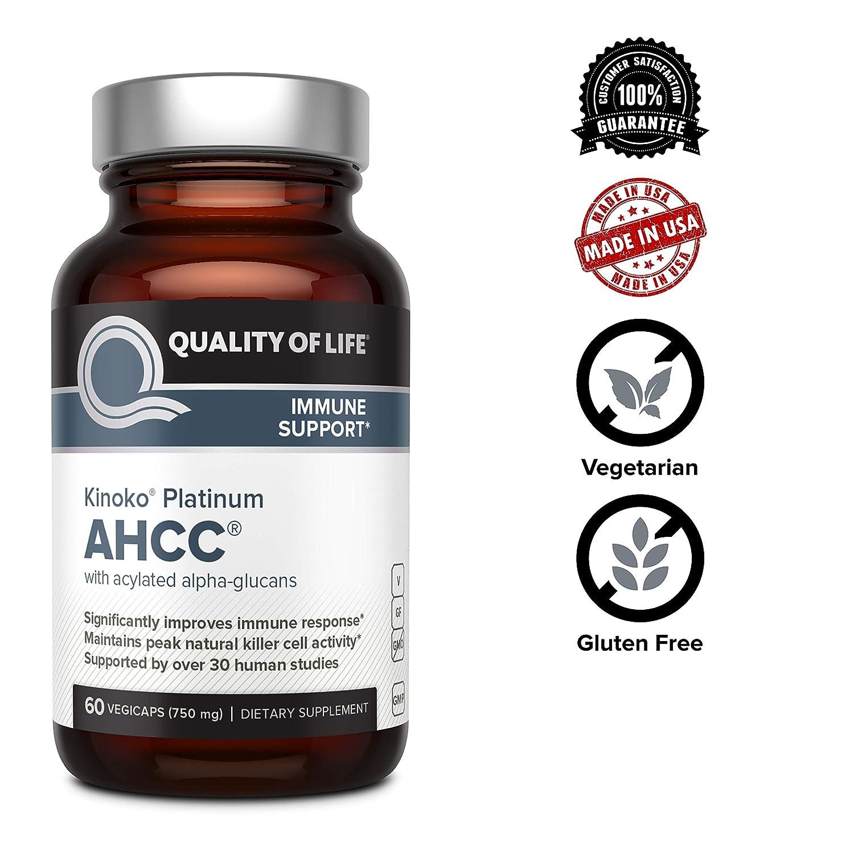 Premium Kinoko Platinum AHCC Supplement – 750mg of AHCC per Capsule –  Supports Immune