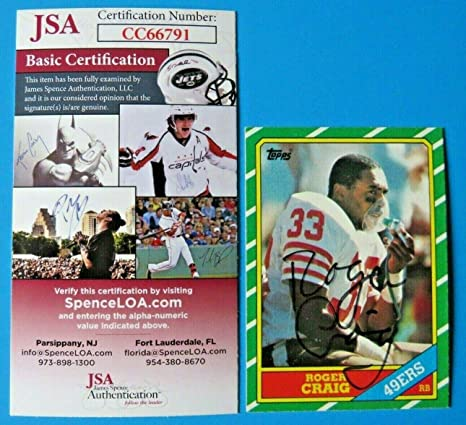 bd5207b5592 1986 Topps Roger Craig Signed Football Card  157 ~ Cc66791 - JSA Certified  - NFL