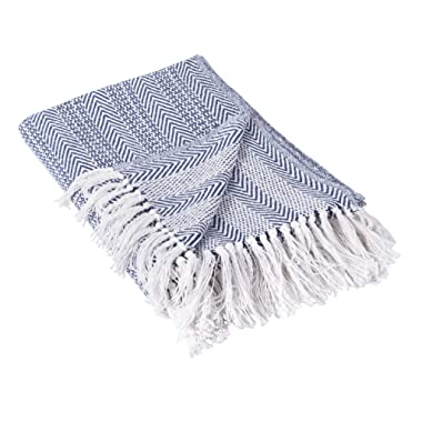 DII Rustic Farmhouse Throw Blanket with Decorative Tassles, Use for Chair, Couch, Bed, Picnic, Camping, Beach, Just Staying Cozy at Home (50 x 60), Herringbone Stripe Nautical Blue