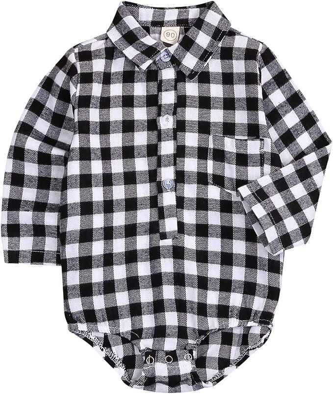 Amazon.com: Bebé recién nacido niña niño blusa a cuadros ...