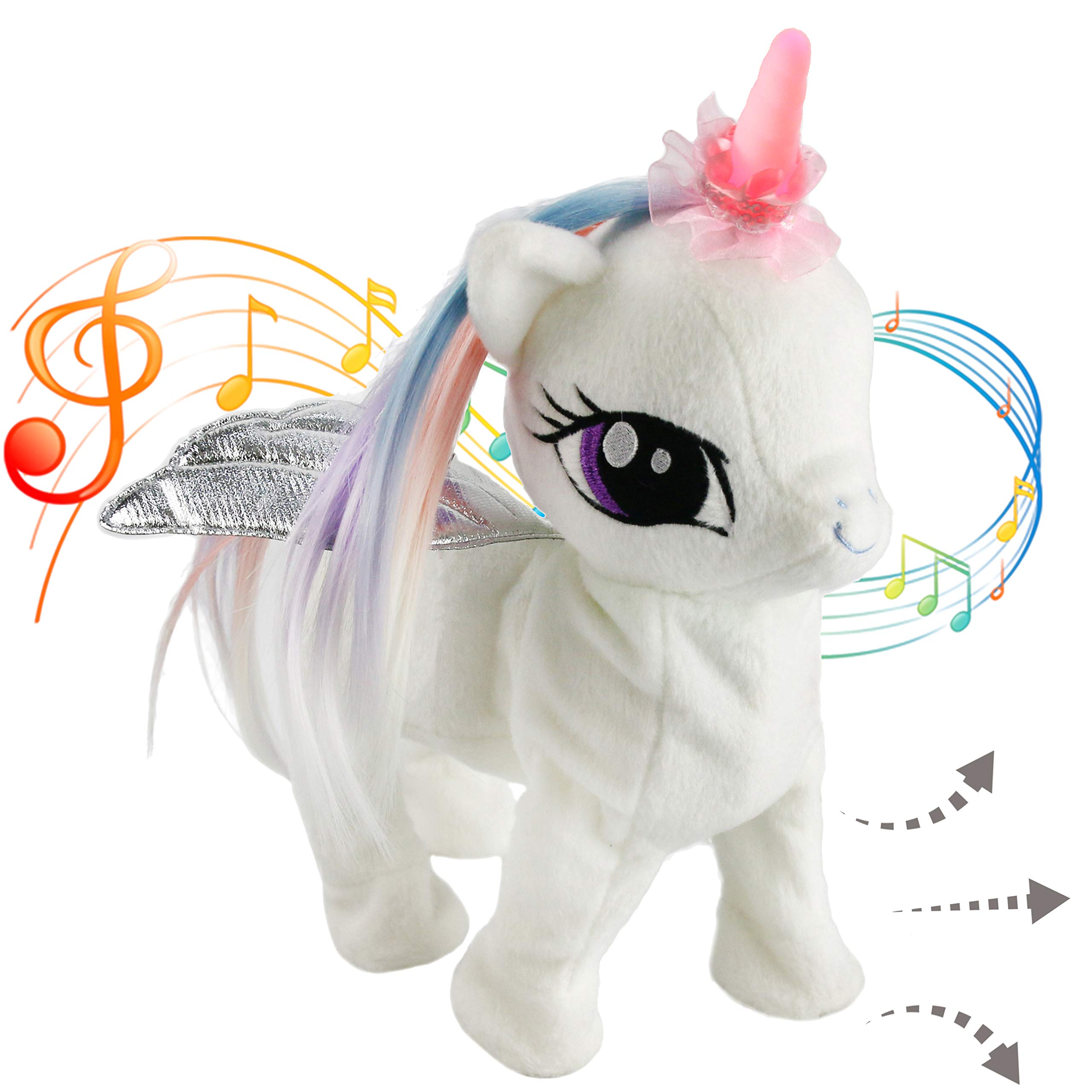 Houwsbaby Musical Unicorn Electronic Toys Interactive Night Light Horn Animated Stuffed Animal Pegasus Plush Singing Walking Gift for Toddlers Kids, 13 inches, White by Houwsbaby
