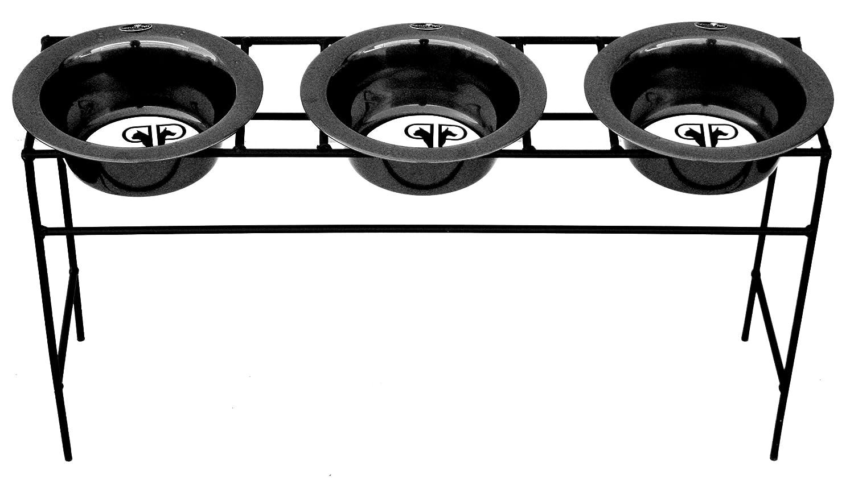 Platinum Pets TMDS16BLK Moderne Dreifach Angehoben Hundezufuhr mit Schüsseln, 414 ml, schwarz
