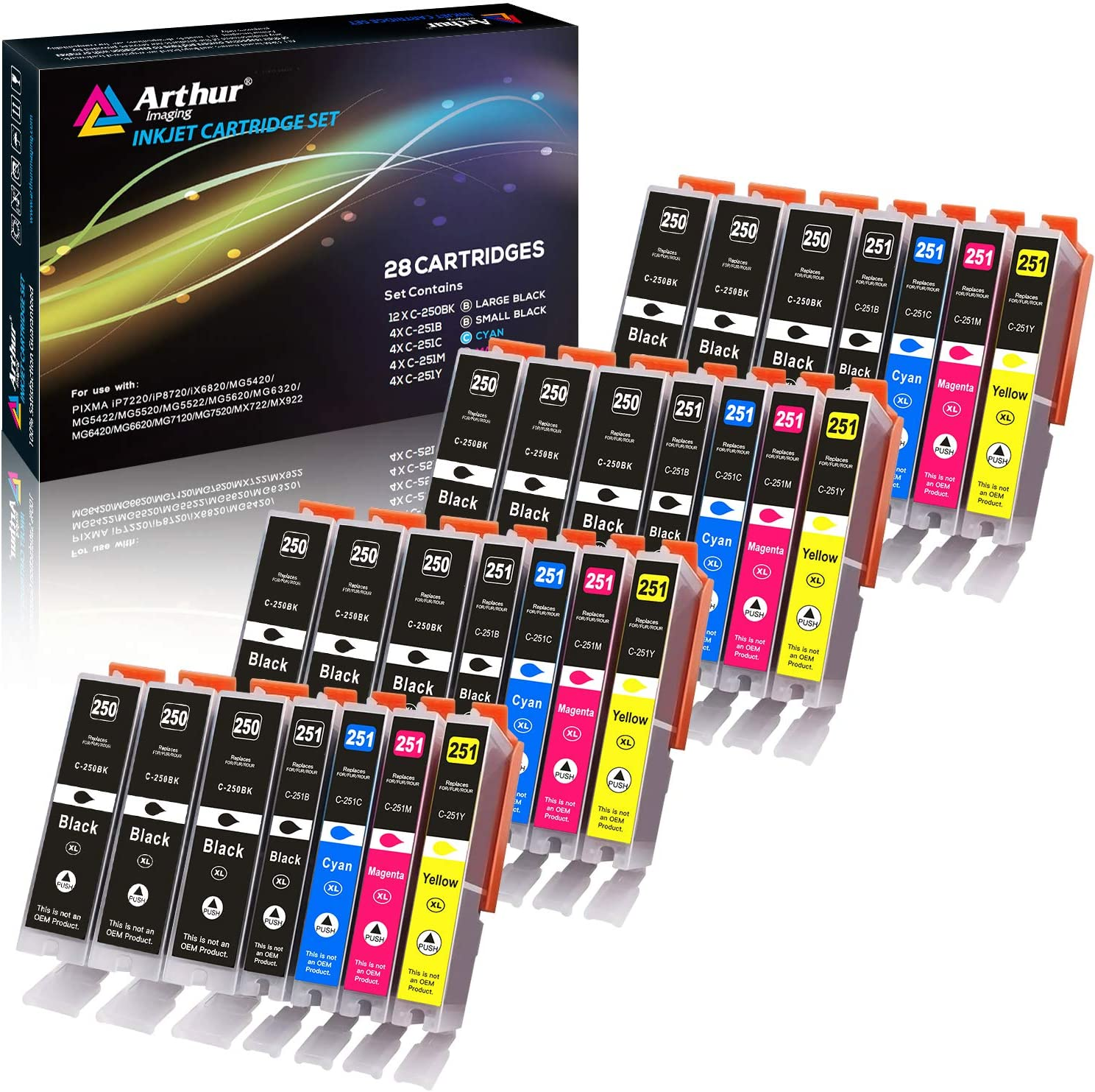 Arthur Imaging Compatible Ink Cartridge Replacement for Canon Pgi-250Xl CLI-251XL for Use with Pixma MX922 MG5520 (12 Large Black, 4 Small Black, 4 Cyan, 4 Yellow, 4 Magenta, 28-Pack)