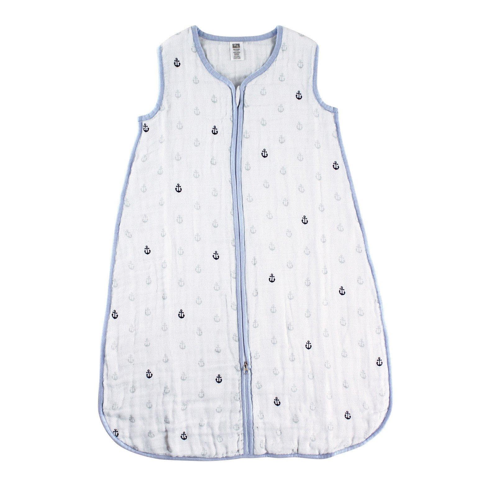 Hudson Baby Wearable Safe Sleep Muslin Sleeping Bag, Blue Anchors, 6-12 Months