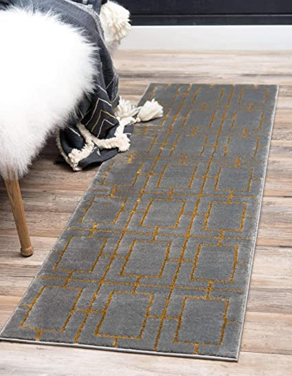 Unique Loom Marilyn Monroe Glam Collection Textured Geometric Trellis Area Rug 2 0 X 6 0 Runner Gray Gold Amazon Co Uk Kitchen Home