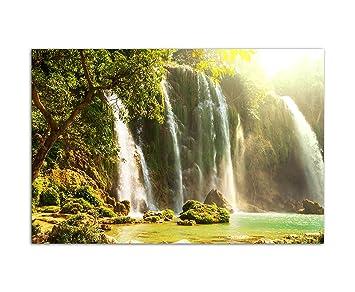 120x80cm   Vietnam Wasserfall Natur Bäume Moos   Bild Auf Keilrahmen Modern  Stilvoll   Bilder Und