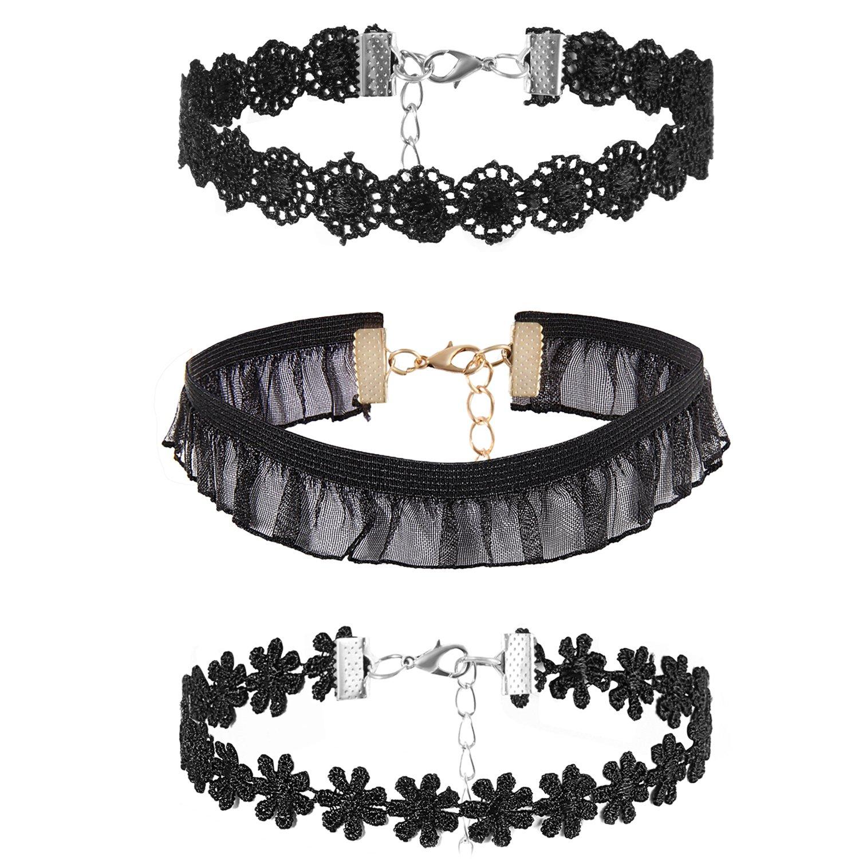Flongo Womens Girls Vintage Gothic Cosplay 3PCS Lace Neckband Choker Necklace, Womens Black Velvet Choker Necklaces, Girls Tattoo Leather Collar Neckband Necklace