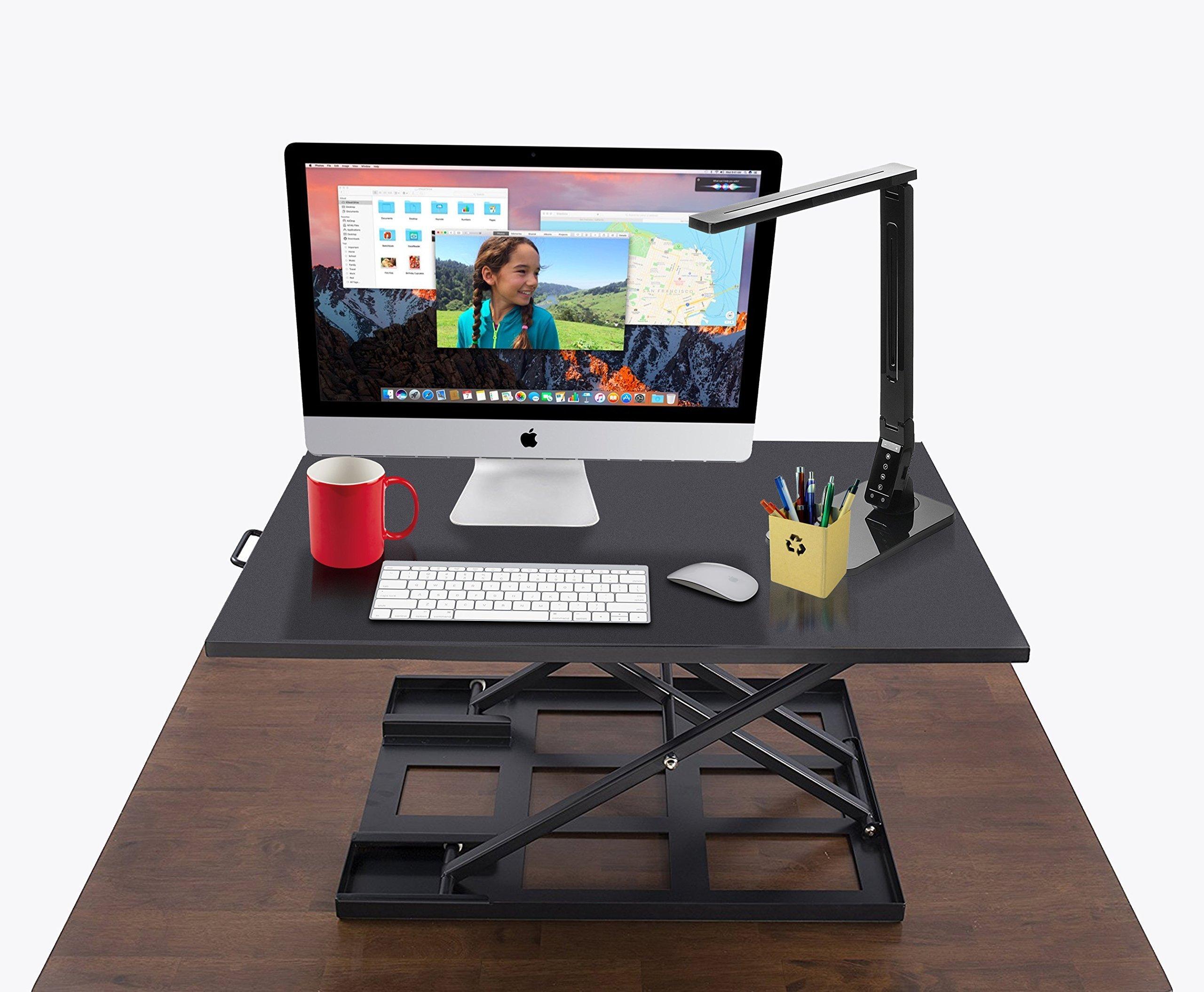 Standing Desk Converter - Standup Ergonomic Height Adjustable Desktop Workstation - 32 X 22 Inch Extra Large Sit Stand Desk Riser for a Dual Monitor Setup - Table Jack by Deskool