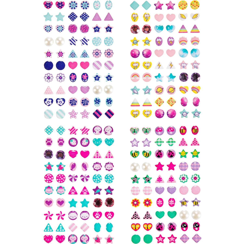 480 Piezas de Pegatinas de Pendientes de Gemas 3D de Niñas de Princesa Pegatinas Brillantes Autoadhesivas