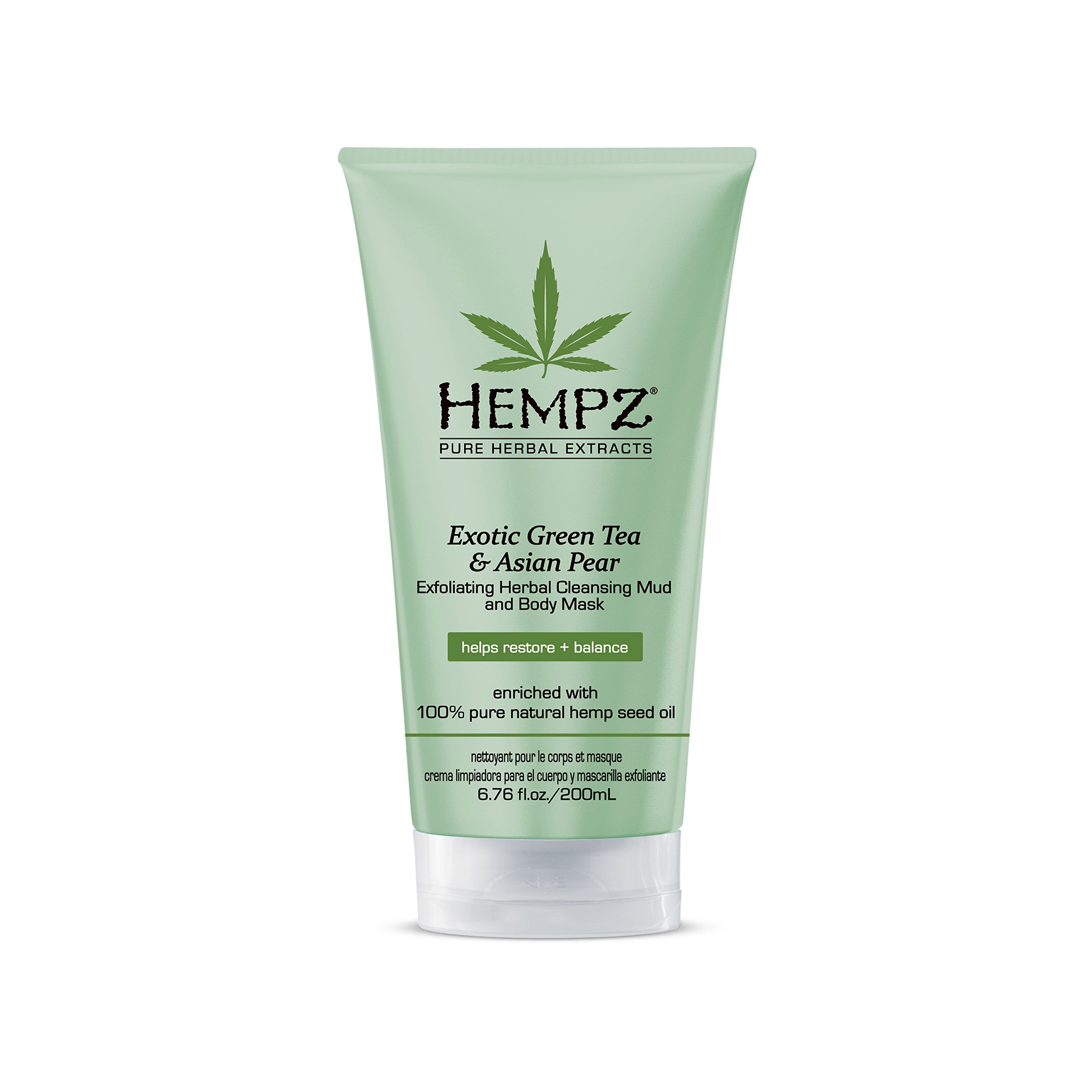 Hempz Exfoliating Herbal Cleansing Mud and Body Mask, Light Green, Exotic Green Tea/Asian Pear, 6.76 Fluid Ounce by Hempz