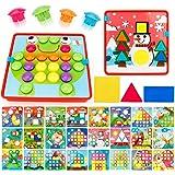 SONi 形合わせ おもちゃ ブロック 96個セット 子供の 幾何認知を育てる 型はめ 立体パズル ジグソーパズル 24枚絵 入園のお祝い
