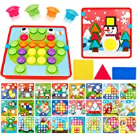 JoyGrow 2 in 1 Button Art Color Matching Mosaic Pegboard Set Toddler Toys Color & Geometry Shape Cognition Skill…
