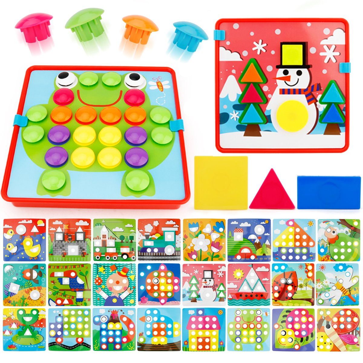 JoyGrow Button Art Color Matching Mosaic Pegboard Set Toddler Toys Color & Geometry Shape Cognition Skill Learning Educational Toys for Boys Girls (72 PCS Buttons and 24 templates )