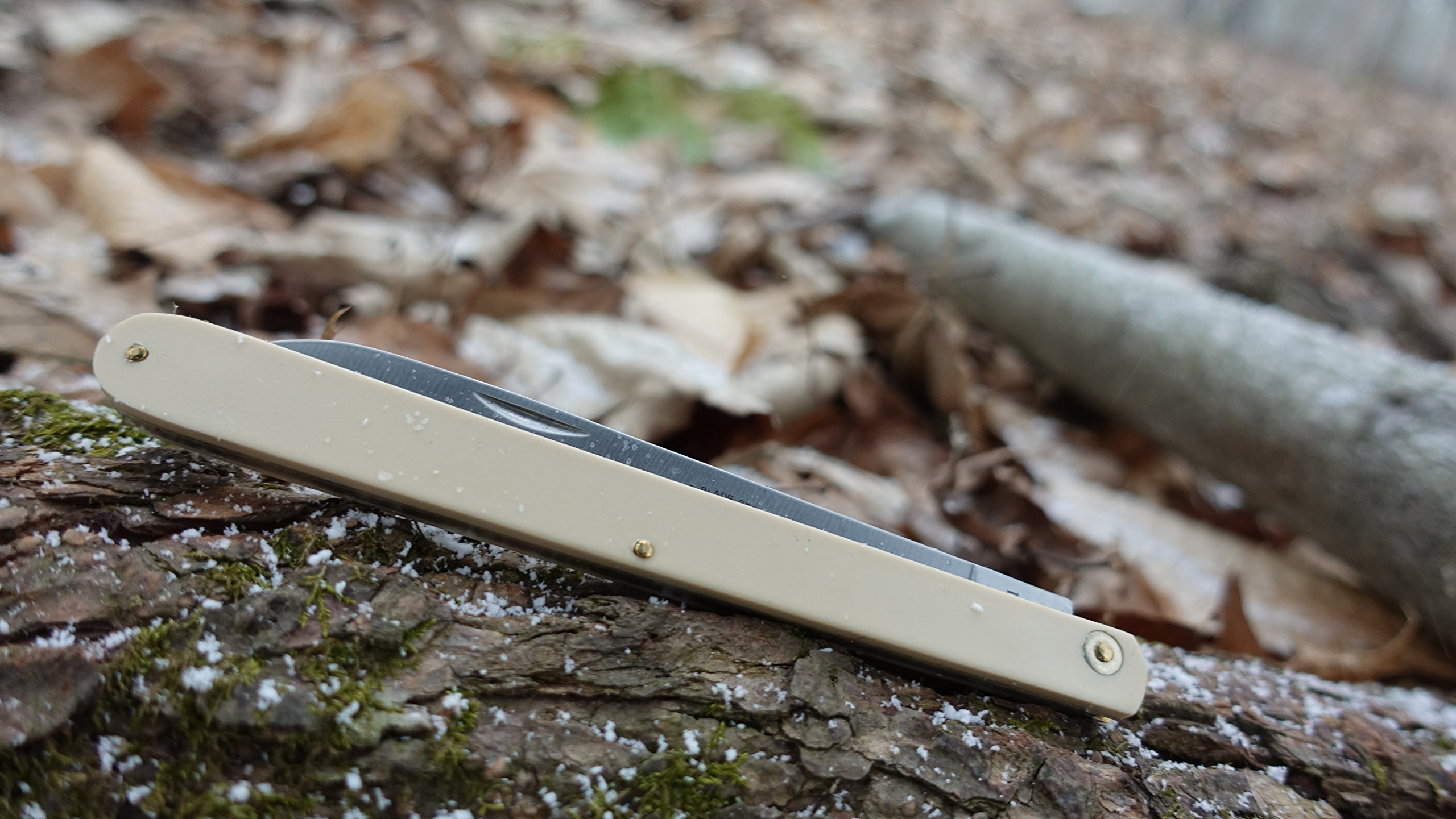 Schrade Imperial SS105 10.5in Stainless Steel Long Sampler Fruit Knife with 4.7in Drop Point Blade with Nail Pull and Yellow Celluloid Handle for Outdoor Hunting Camping and Everyday Carry