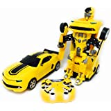 Toy Transforming Car to Robot with USB Rechargeable Batteries and Lights and Realistic Engine Sounds compare to famous Bumblebee - Transform remote control