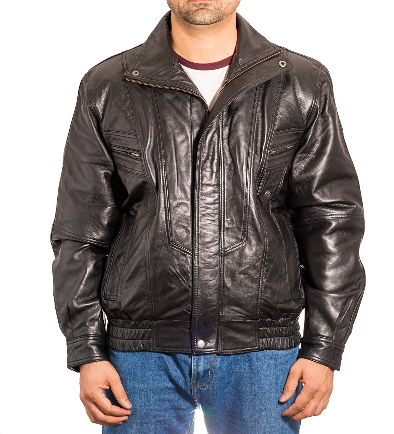 Mens Black Real Leather Vintage Classic Retro Blouson Bomber Jacket Coat