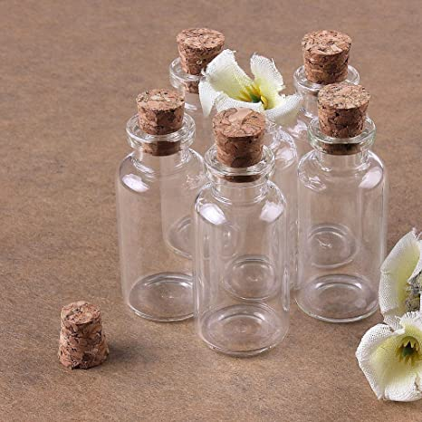 12 unidades detalles de boda vidrio para muestras HugeStore Botellas de vidrio transparentes con tap/ón de corcho tama/ño miniatura mensajes
