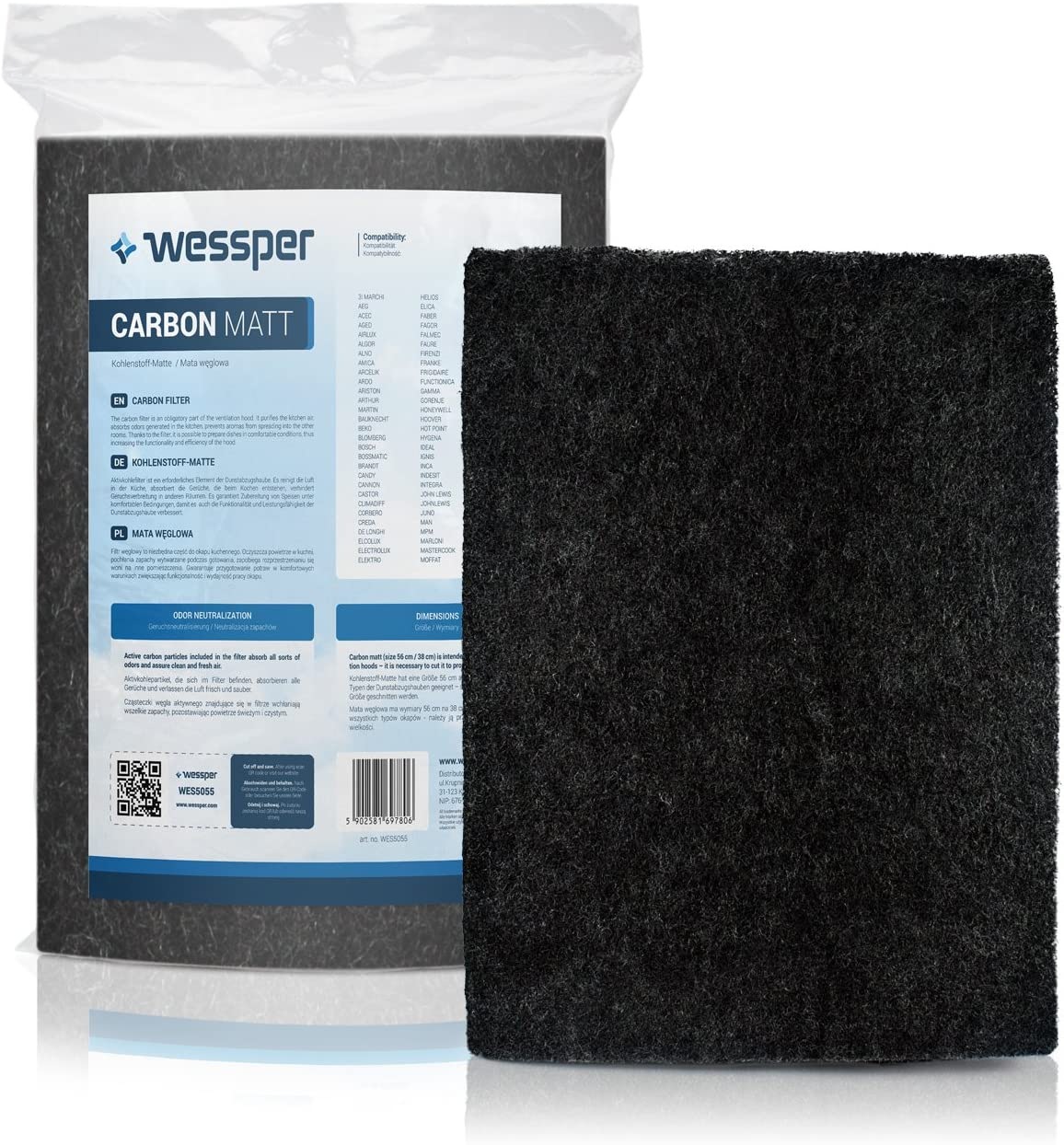 ?WESSPER® Campana extractora filtro para FABER BLACK TIE BRS W 80 (Estera filtrante, carbón)