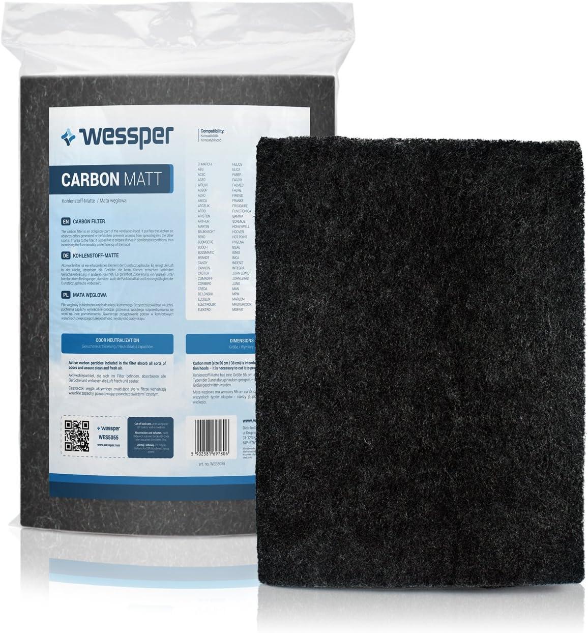 ?WESSPER® Campana extractora filtro para Ariston HE70IX (Estera filtrante, carbón)