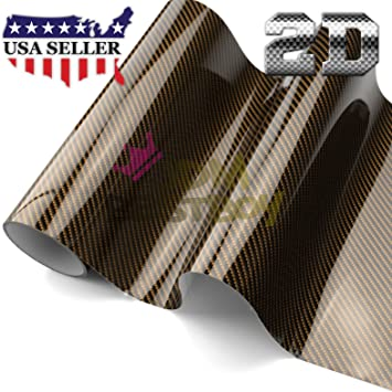 *Premium 2D Black Gold High Gloss Glossy Carbon Fiber Vinyl Wrap Sticker Decal