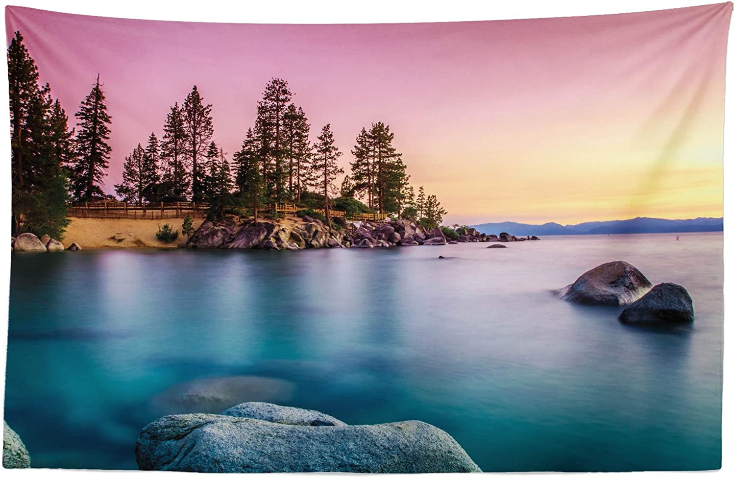 """Lunarable Lake Tahoe Tapestry, Surreal Nature Pastoral Scenery with Idyllic Sky Pine Forest Rocks in Water View, Fabric Wall Hanging Decor for Bedroom Living Room Dorm, 45"""" X 30"""", Pink Blue"""