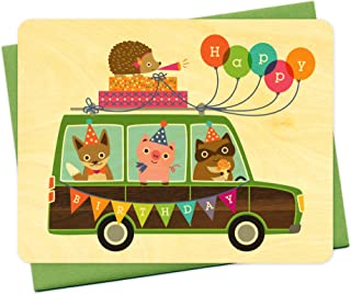 product image for Night Owl Paper Goods Party Wagon Wood Birthday Card