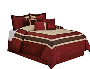 7 Piece MYA Red Bed in a Bag Comforter Sets- Queen King Cal. King Size  (King)