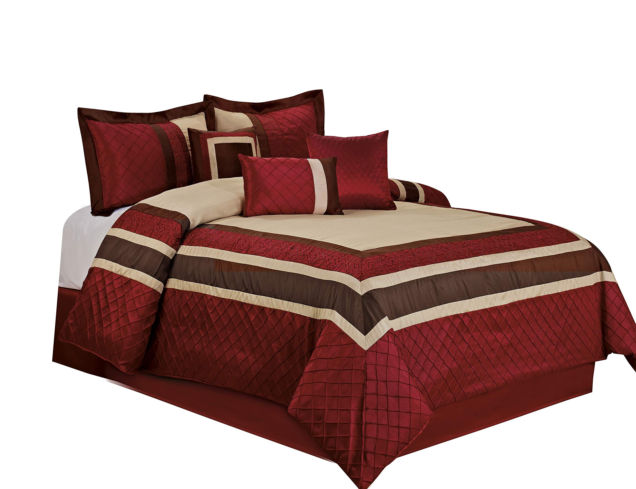 7 Piece MYA Red Bed in a Bag Comforter Sets- Queen King Cal. King Size (Cal. King)