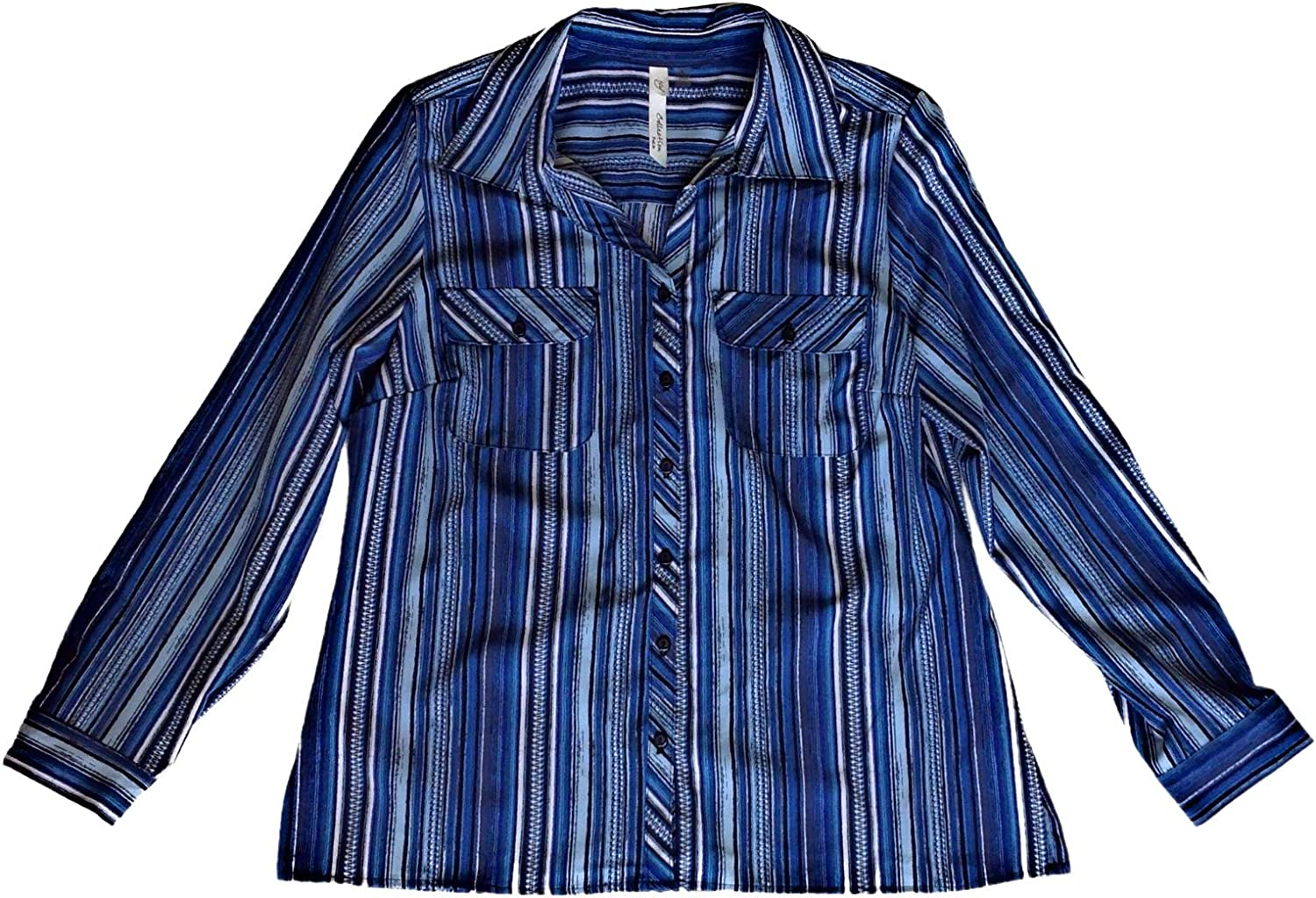 NY Collection Womens Petites Striped Utility Button-Down Top Blue PL