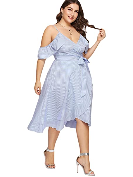 f0300f4d863 Romwe Women s Ruffle Cold Shoulder Stripe A Line Wrap Plus Size Dress Blue  0X Plus at Amazon Women s Clothing store