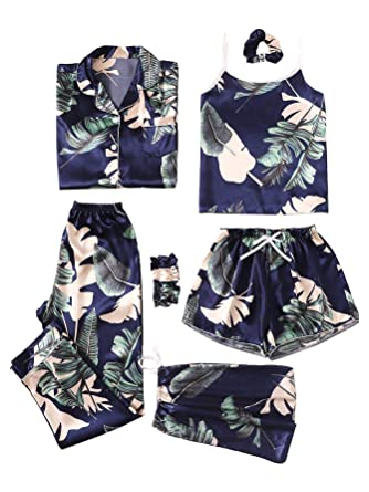 8807171f75 SheIn Women's 7pcs Pajama Set Cami Pjs with Shirt and Eye Mask Small Navy#1