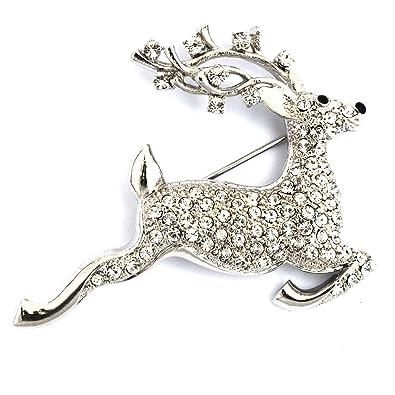 Designer Jewellery - Swarovski Crystal Stag Reindeer Brooch