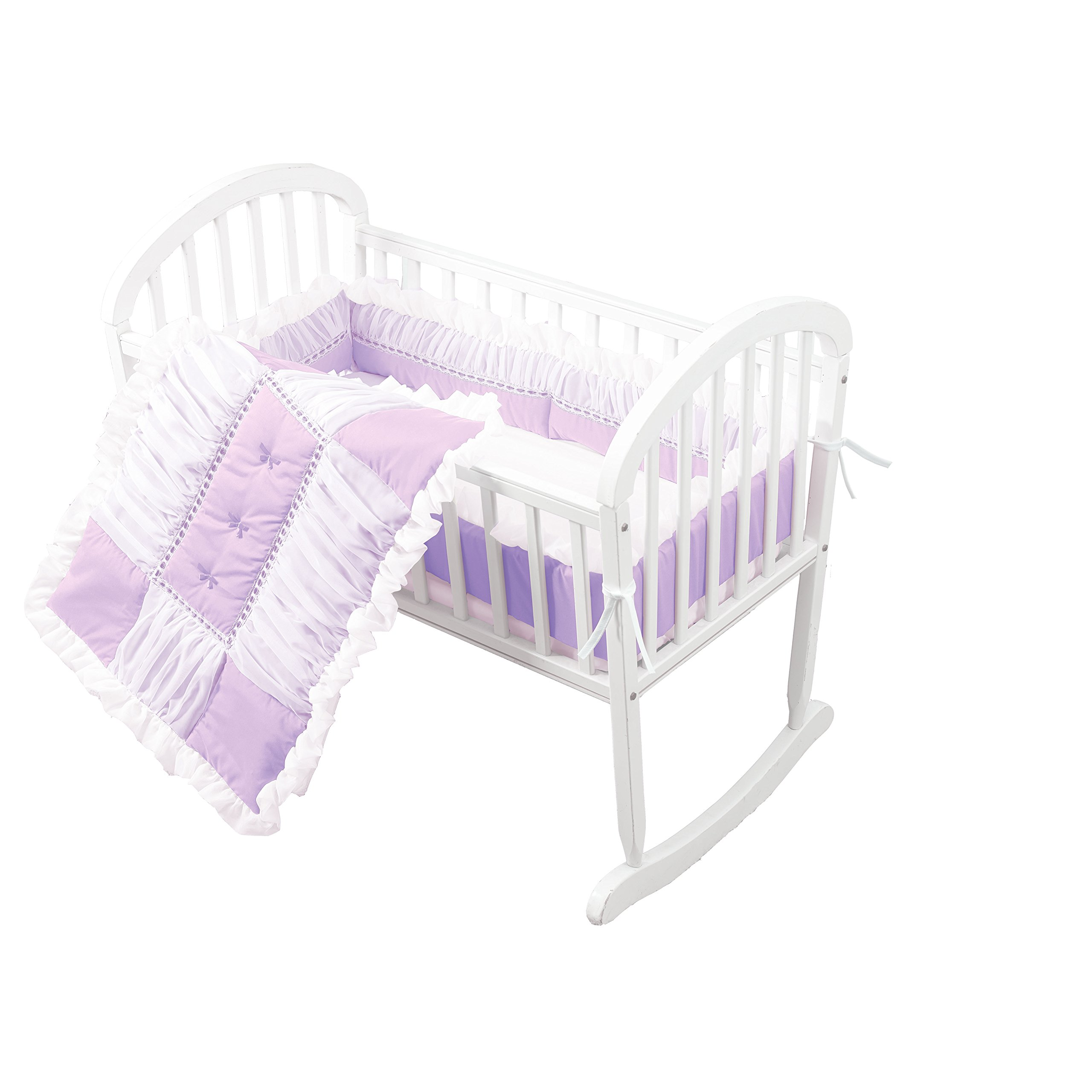 Baby Doll Sweet Touch Baby 3 Piece Cradle Bedding Set, Lavender