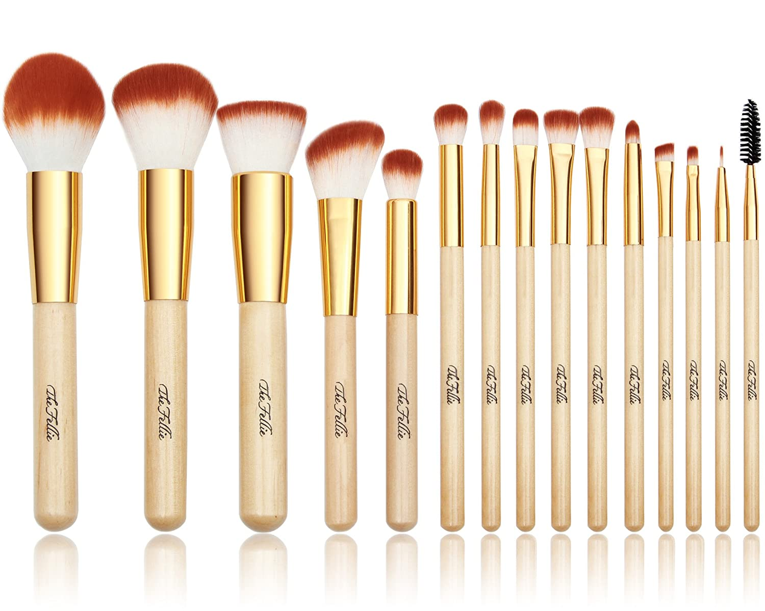 The Fellie Makeup Brushes, Professional Makeup Brush Set For Powder Foundation Blush Eyebrow Concealer Eyeshadow Cosmetics - 15 PCS