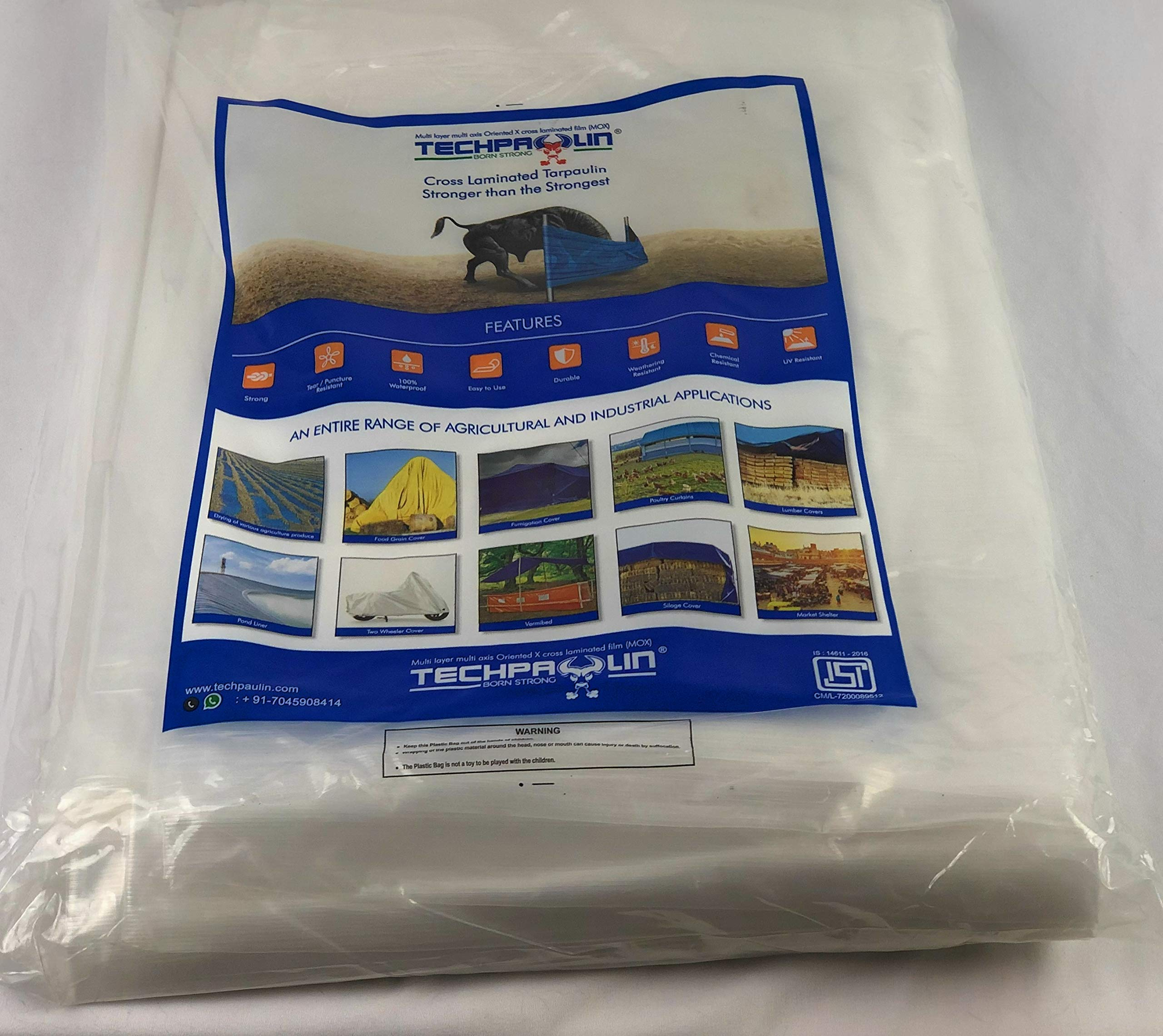 12x16 Heavy Duty Clear Tarp, MOX Film Technology, Premium tarp, Anti-Tear, Waterproof, UV Resistant, 22 Variations by Queen of Tarps