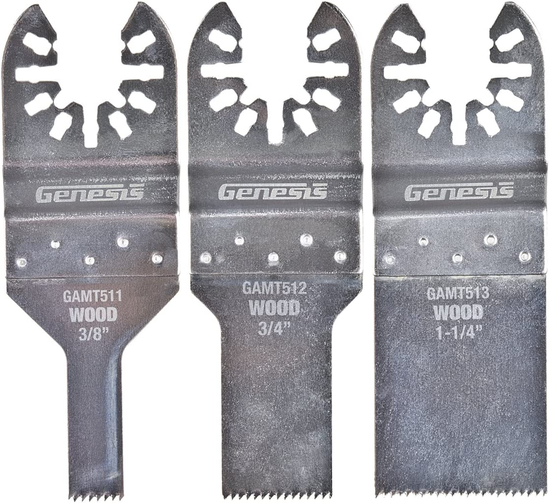 Genesis GAMT501 3-Piece Universal Quick-Fit Flush Cut Blade Assortment Pack
