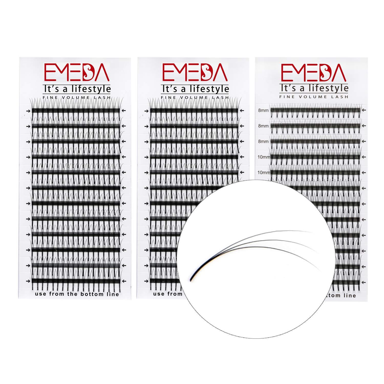 3D W Volume Cluster Eyelash Extension False Eyelashes 0.15 C Curl 8-14Mix/12/14MM 3Trays EMEDA