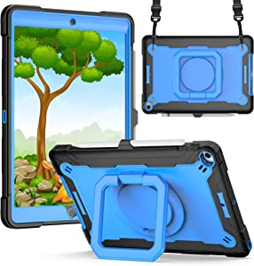 iPad 10.2 Case for Kids | SIBEITU iPad 8th Generation Case with Pencil Holder | Full Protection Cover with Handle & Stand & Shoulder Strap for iPad 10.2 8th Generation/7th Gen 2020 2019 | Blue