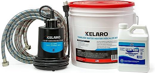 طقم سخان مياه بدون خزان من كيلارو مع مزيل قابل للتحلل البيولوجي للتدفق