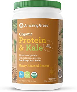 product image for Amazing Grass Vegan Protein & Kale Powder: 20g of Organic Protein + 1 Cup Leafy Greens per Serving, Honey Roasted Peanut, 15 Servings
